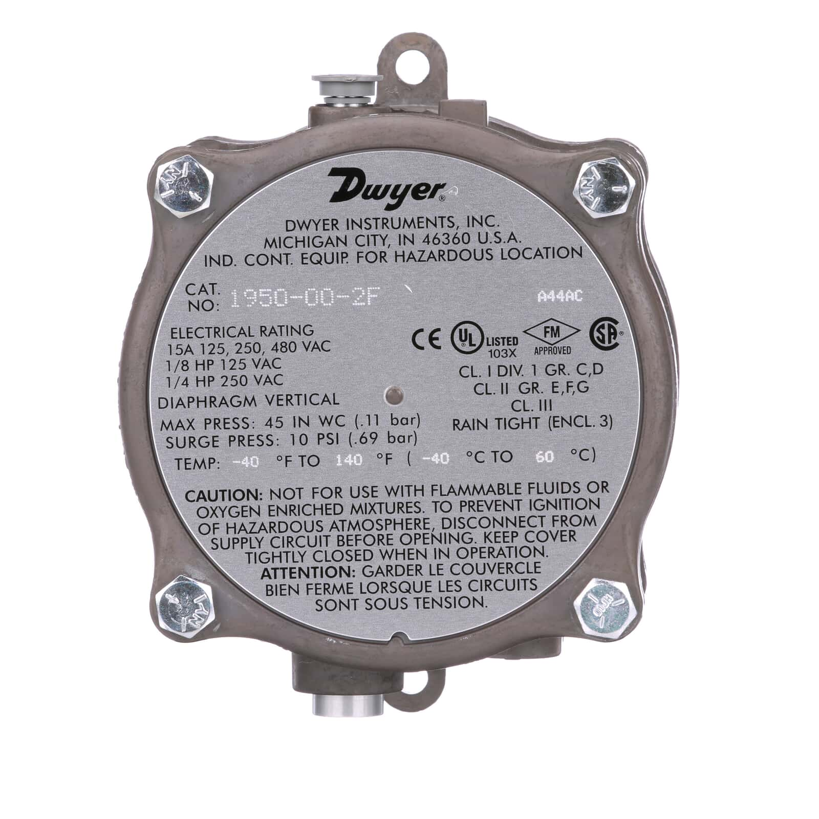 Series 1950 | Explosion-proof Differential Pressure Switch applies